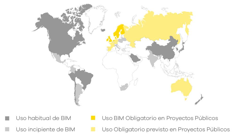Distribución implantación BIM en el mundo